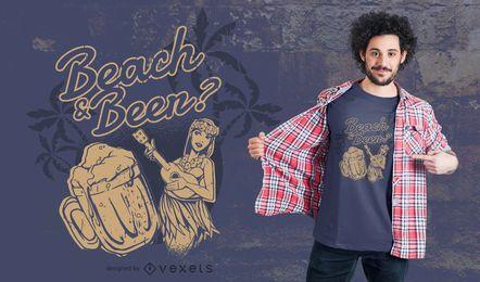Diseño de camiseta de playa y cerveza.
