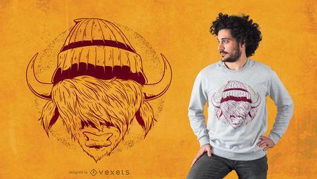 Diseño de camiseta de búfalo hipster