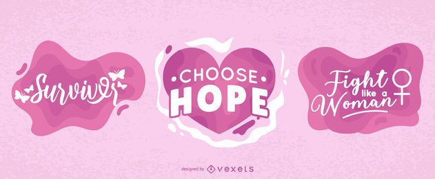 Breast cancer awareness vector set