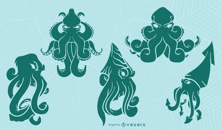 Kraken silhouette set