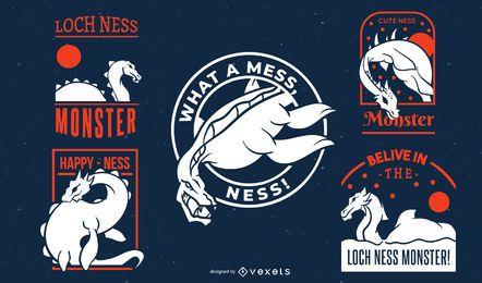 Coleção de distintivos de monstro do Lago Ness