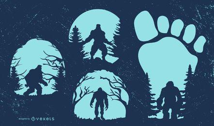 Colección de diseño de silueta de Bigfoot