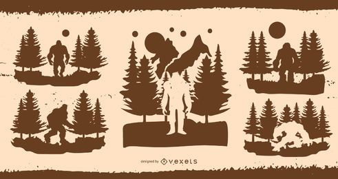 Bigfoot-Schattenbild-Illustrations-Design-Satz