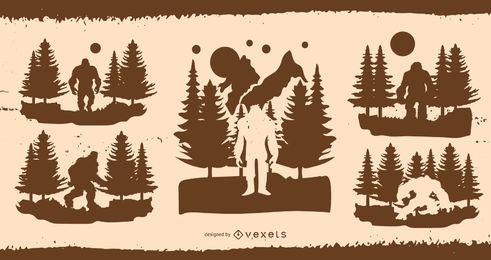 Paquete de diseño de ilustración de silueta de Bigfoot