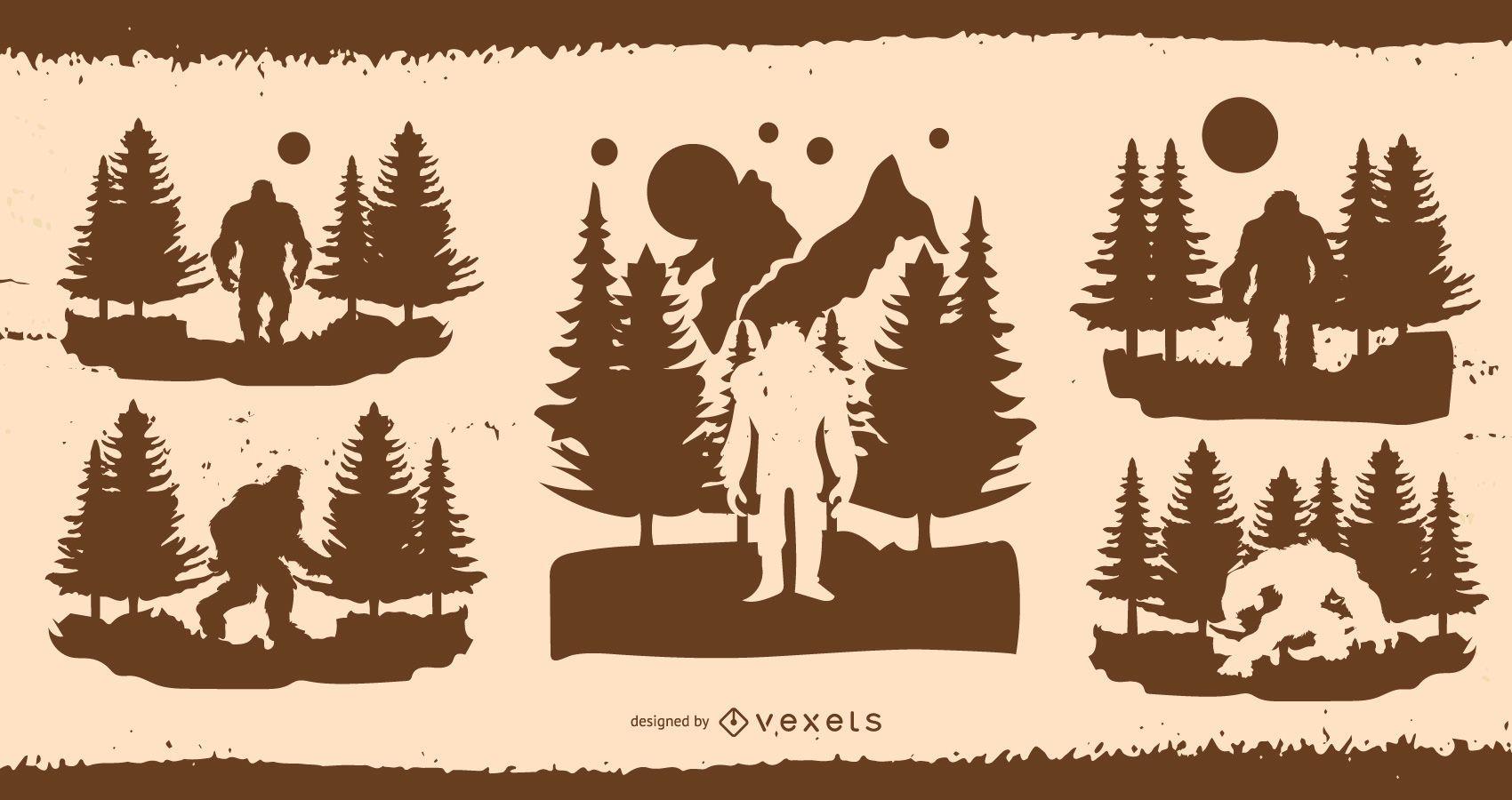Bigfoot Silhouette Illustration Design Pack