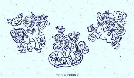 Paquete de diseño de trazo de unicornio loco