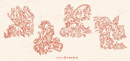 Conjunto de criatura de ilustración de trazo de Phoenix