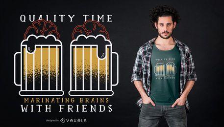 Diseño de camiseta de cita de cerebro de cerveza