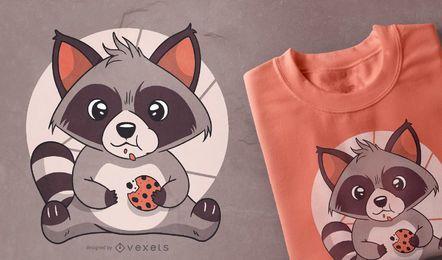 Diseño lindo de camiseta de galleta de mapache