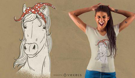 Diseño de camiseta de caballo bandana