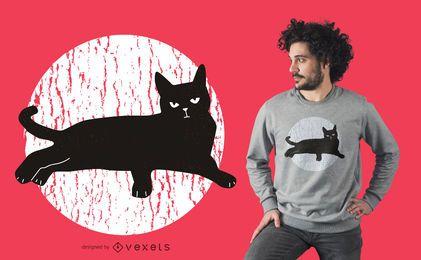 Diseño de camiseta de gato negro