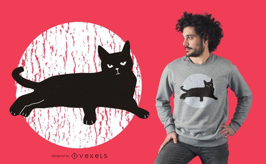 Black cat t-shirt design
