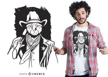 Diseño de camiseta de gato vaquero