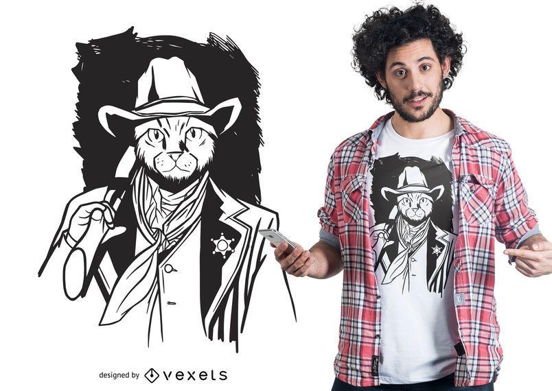 Cowboy cat t-shirt design