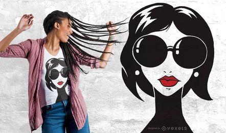 Diseño de camiseta de retrato de dama
