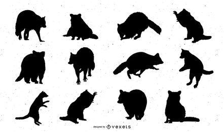 Conjunto de silueta de vector de mapache