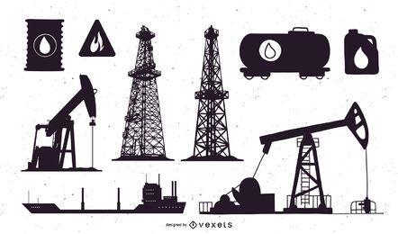 Conjunto de silhueta de campo de petróleo