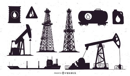Conjunto de silueta de campo petrolero