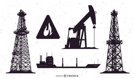 Ölfeld Silhouette gesetzt