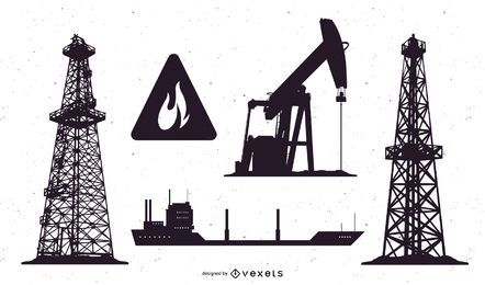 Oil field silhouette set