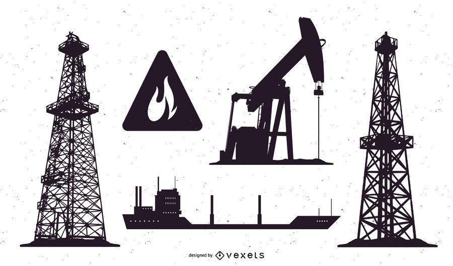 Oil field silhouette set
