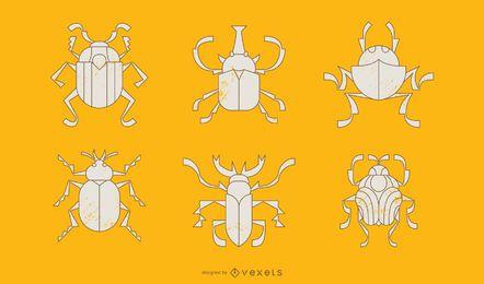 Pacote de ilustração de estilo geométrico de besouro