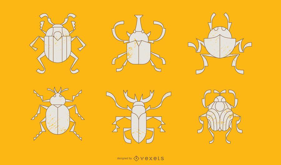 Käfer geometrischen Stil Illustration Pack