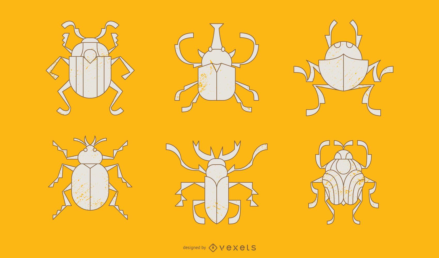 Beetle Geometric Style Illustration Pack