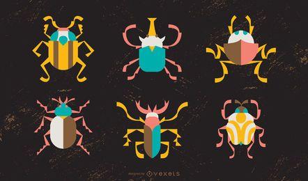 Pacote de ilustração colorida de besouro