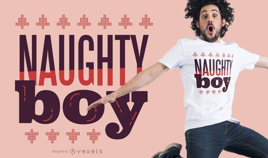 Diseño de camiseta naughty boy de navidad