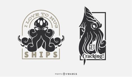 Conjunto de distintivo de monstro engraçado Kraken