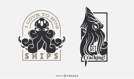 Juego de insignias Kraken Funny Monster