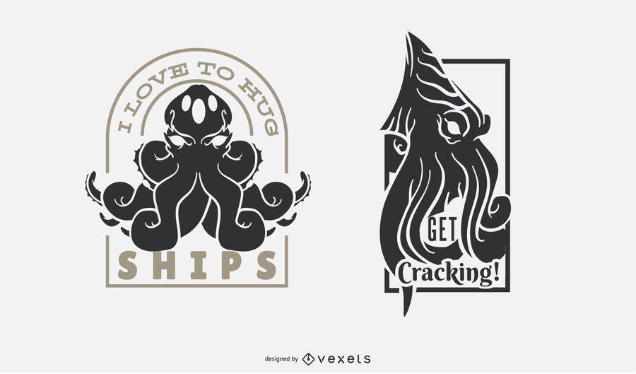 Kraken Funny Monster Badge Set