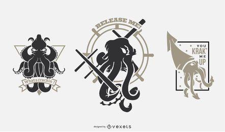 Pacote de distintivos de monstro Kraken