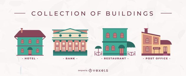 Buildings flat vector set