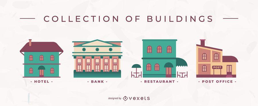 Conjunto de vector plano de edificios