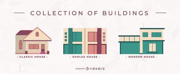 Conjunto de casas planas de edificios
