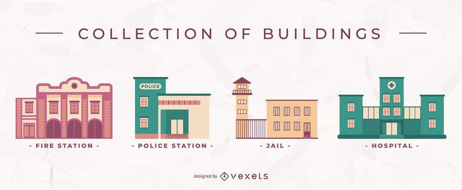 Flat buildings vector set
