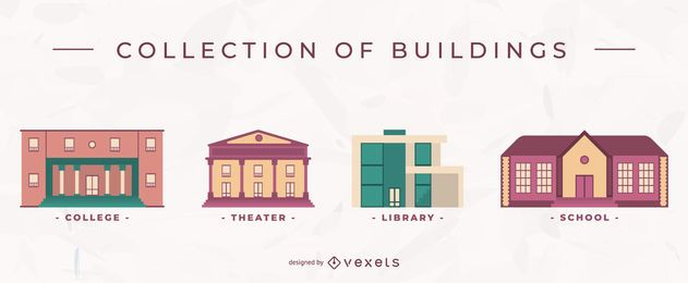 Building flat vector set