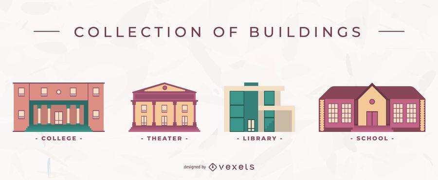 Building flat vector set