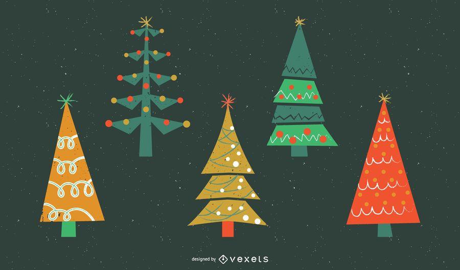 Conjunto plano de árboles de navidad