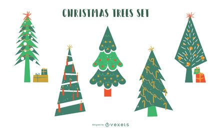 Christmas trees flat vector set