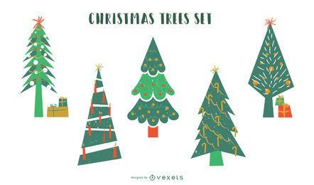Conjunto de vetores plana de árvores de Natal