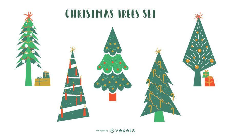 Christmas trees flat vector set