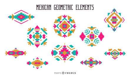 Conjunto de vetor geométrico mexicano