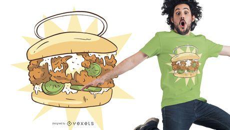 Diseño de camiseta de sandwich de pollo.