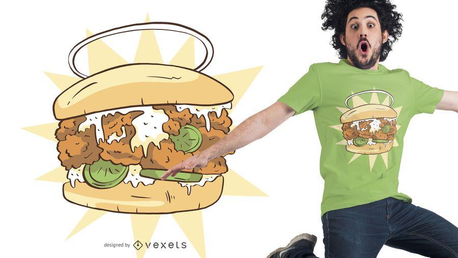 Design de t-shirt de sanduíche de frango