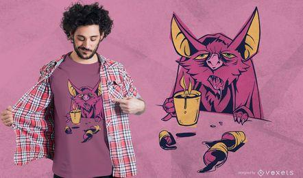 Design de t-shirt de morcego de café
