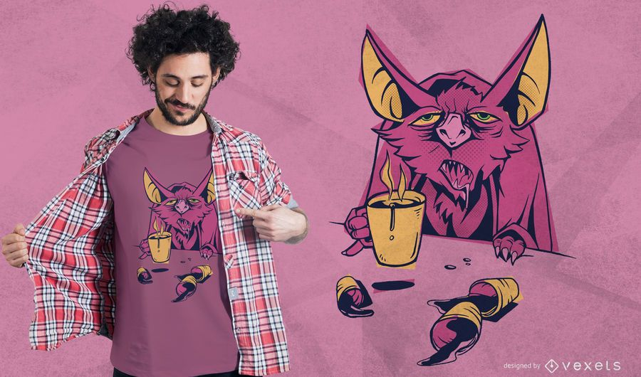 Coffee bat t-shirt design