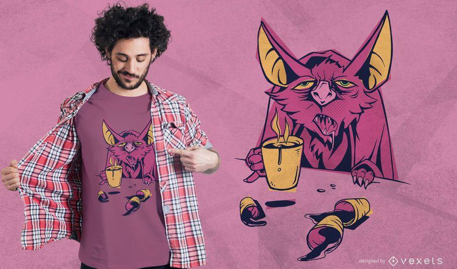 Kaffee Fledermaus T-Shirt Design